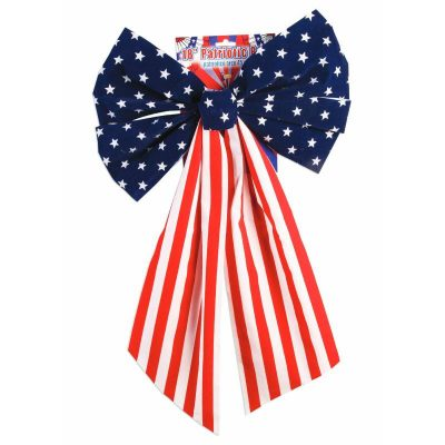 Patriotic Velvet Bow Red White Blue Stars Stripes