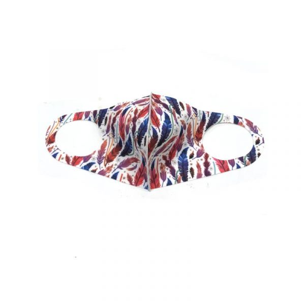 Feather Face Mask - white with variegated red, purple, blue feathers