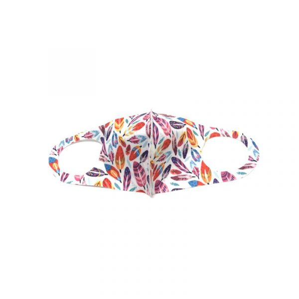 Feather Face Mask - white with artistic multi-color feathers