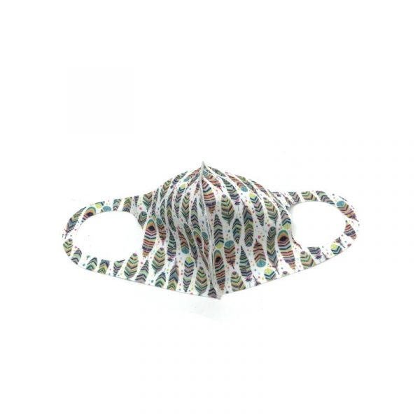 Feather Face Mask - White with lime multi-color feathers