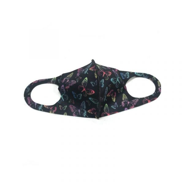 Pretty Butterflies Face Mask - Black with multi-color butterflies