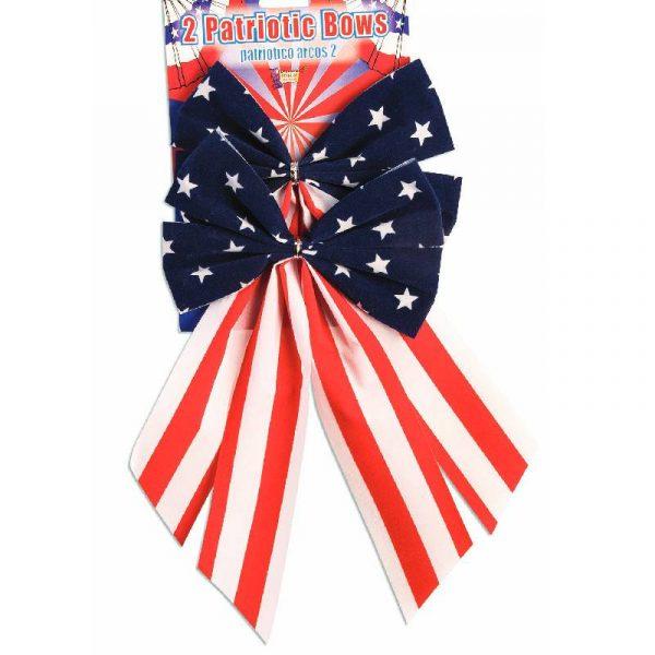 Patriotic Velvet Bow Red White Blue Stars Stripes