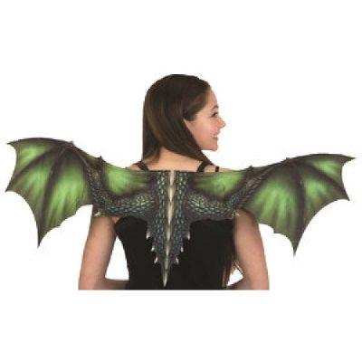 Printed fabric dragon wings - green