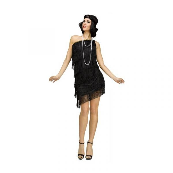 Black Shimmery Flapper Roaring 20s Costume Dress