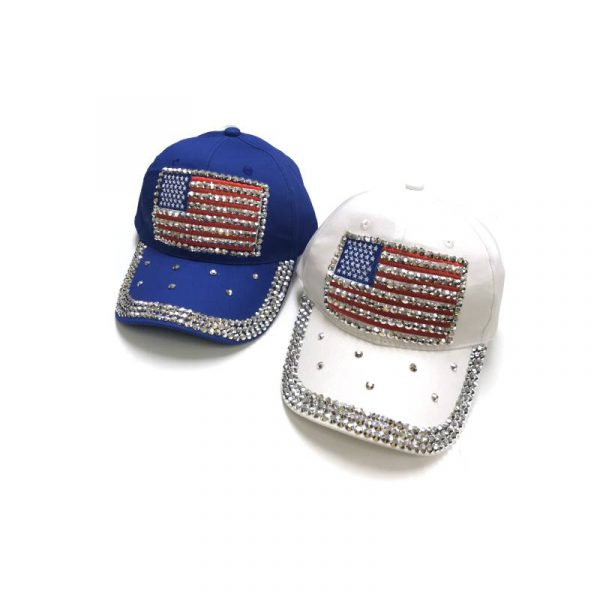 Jeweled US Flag Cap w Rhinestones