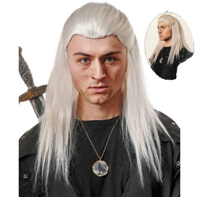 Medieval Knight Wig - Silver Hair