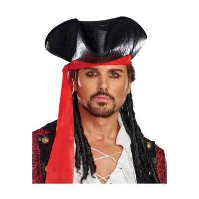 Caribbean pirate hat with red scarf and hair