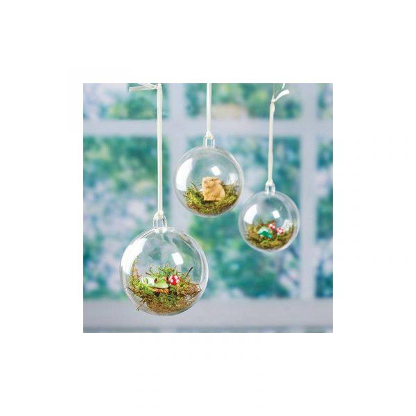 2-Piece Clear Plastic Ornament Ball Heart