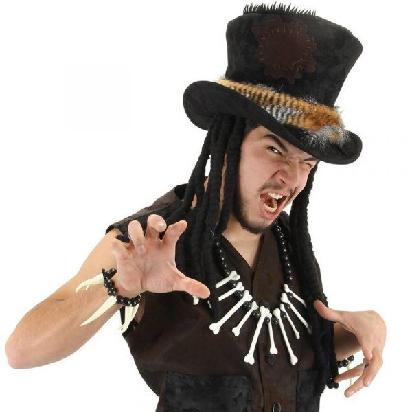 Plush top Hat w Dreads - Witch Doctor