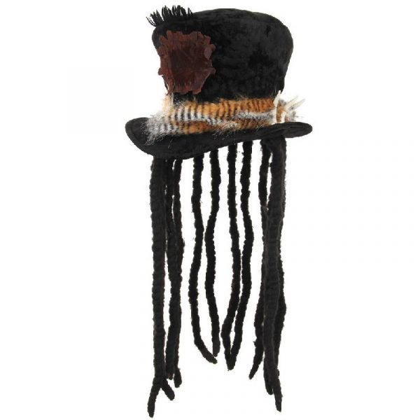 Plush top Hat w Dreads - Witch Doctor - Front
