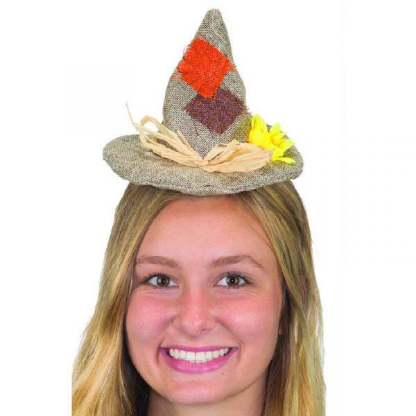 Burlap Mini Scarecrow Hat Headband w Sunflower