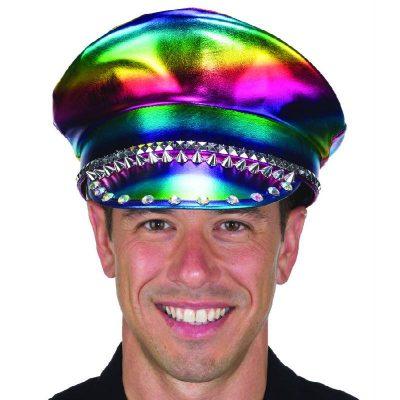 Rainbow Fabric Military Cap w Studs & Jewels