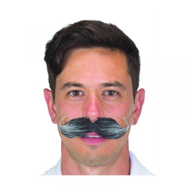 Black/Gray Handlebar Moustache