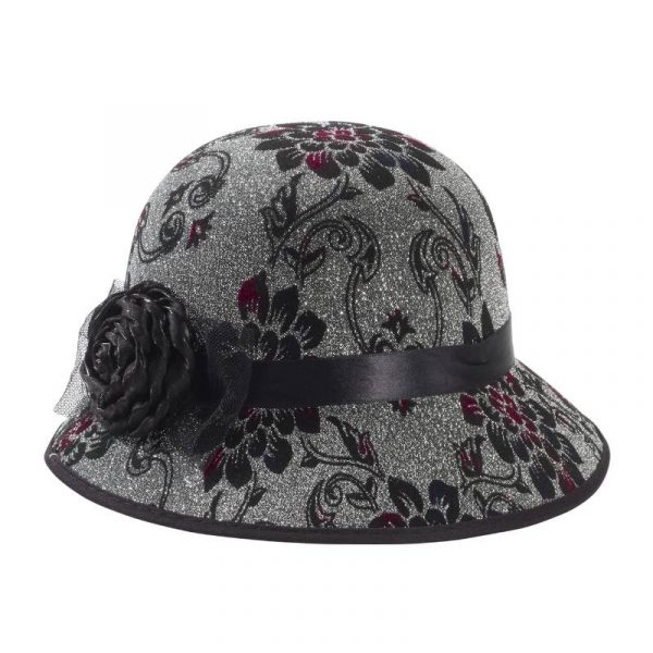 Floral Embossed ladies Old Time Hat 1920s, 30s, 40s, and 50s