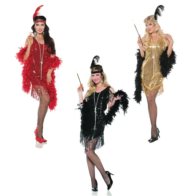 Swingin' Flapper Dresses Red, Black