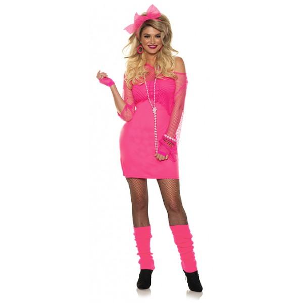 Neon Pink Totally 80s Tank Top Mini Dress