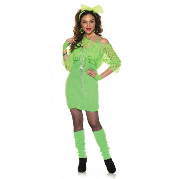 Neon Green Totally 80s Tank Top Mini Dress