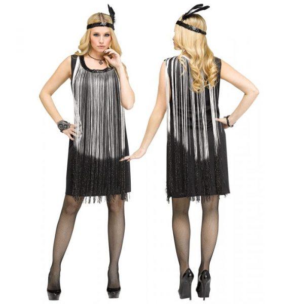 Flapper Dress w Silver Fringe