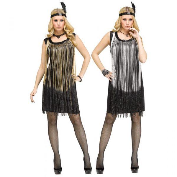 Flapper Dress w Gold or Silver Fringe