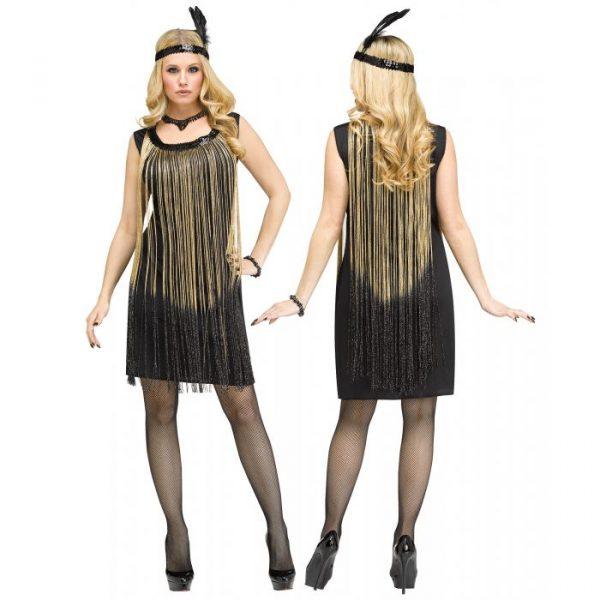 Flapper Dress w Gold Fringe