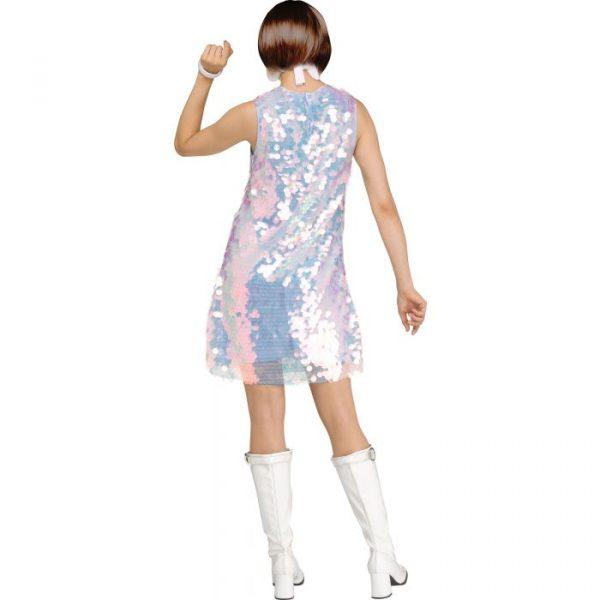 60s Dancin Queen Dress w white headband and earrings - Back