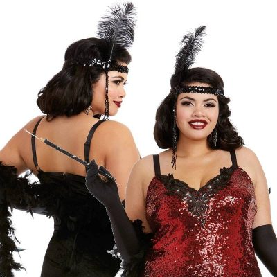 Costume Feathered Sequin Flapper Headpiece