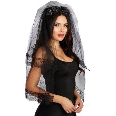 Costume Layered Black Veil Headband w Roses