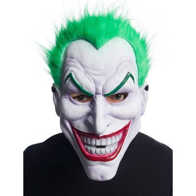 Vacuum-Form Plastic Joker Mask w Hair