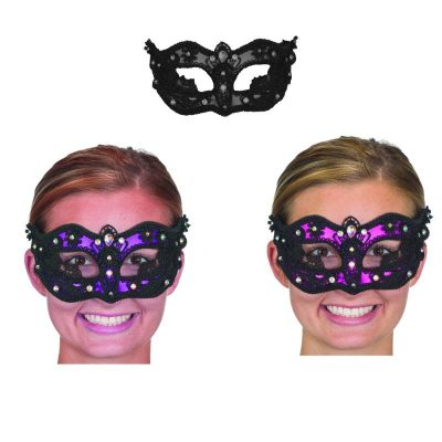 Black Jeweled Lace Half Masks