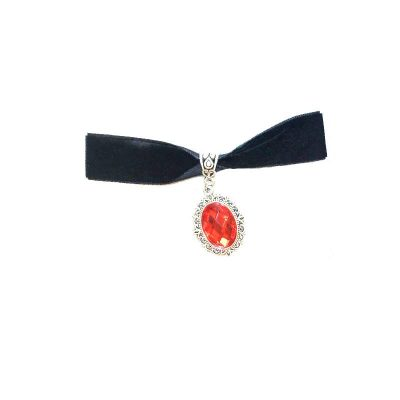 Red Ruby Medallion on Black Choker