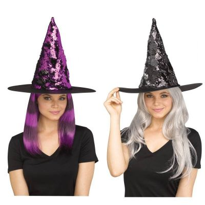 Costume Flip Sequin Witch Hat