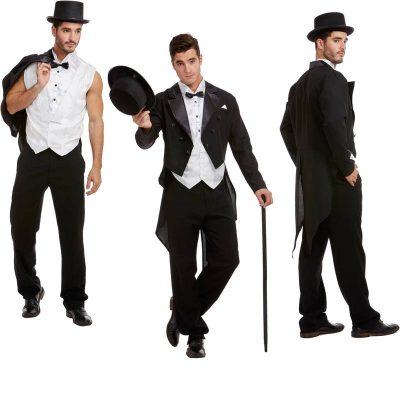 Gatsby Men's Black Tailcoat n Swoop Vest