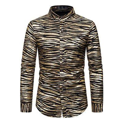 Tiger Stripe Gold Metallic Disco Shirt like Joe Exotic Shirt Front