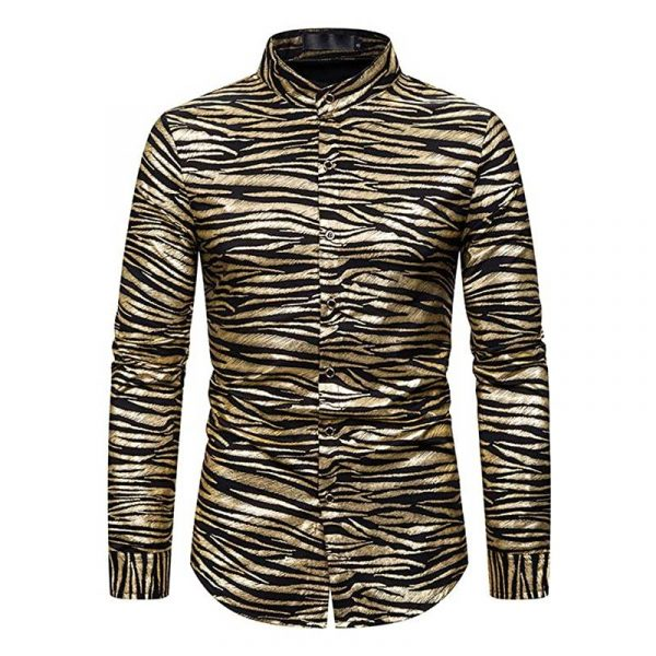 Tiger Stripe Gold Metallic Disco Shirt like Joe Exotic Shirt Front