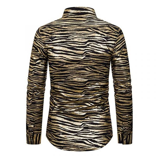Tiger Stripe Gold Metallic Disco Shirt like Joe Exotic - Back