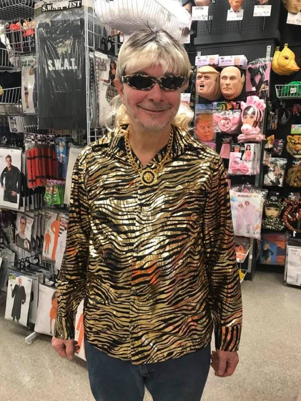 Tiger Stripe Gold Metallic Disco Shirt like Joe Exotic
