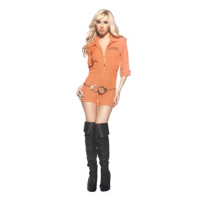 Busted - Orange Hot Pants Jumpsuit with Handcuffs belt