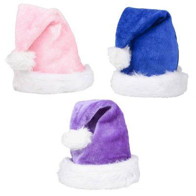 Plush Santa Hat Colors Pink, Purple, Blue