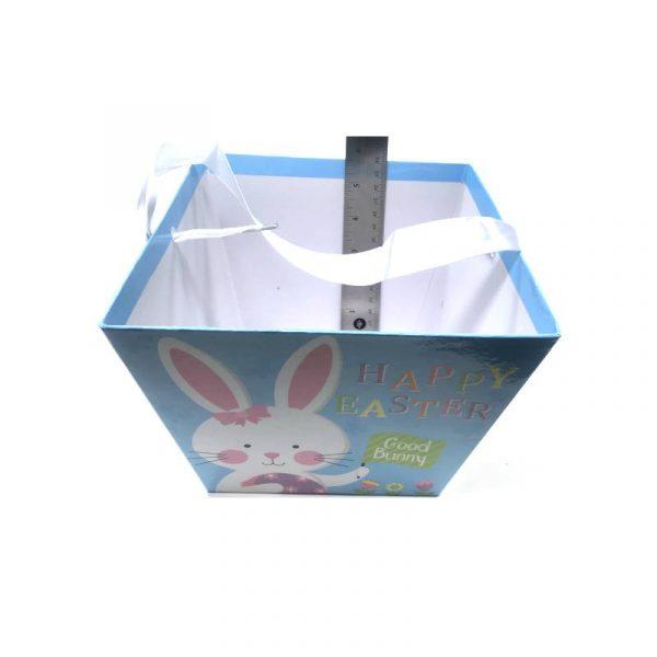Light Blue Square Cardboard Easter Basket w Ribbon Handle
