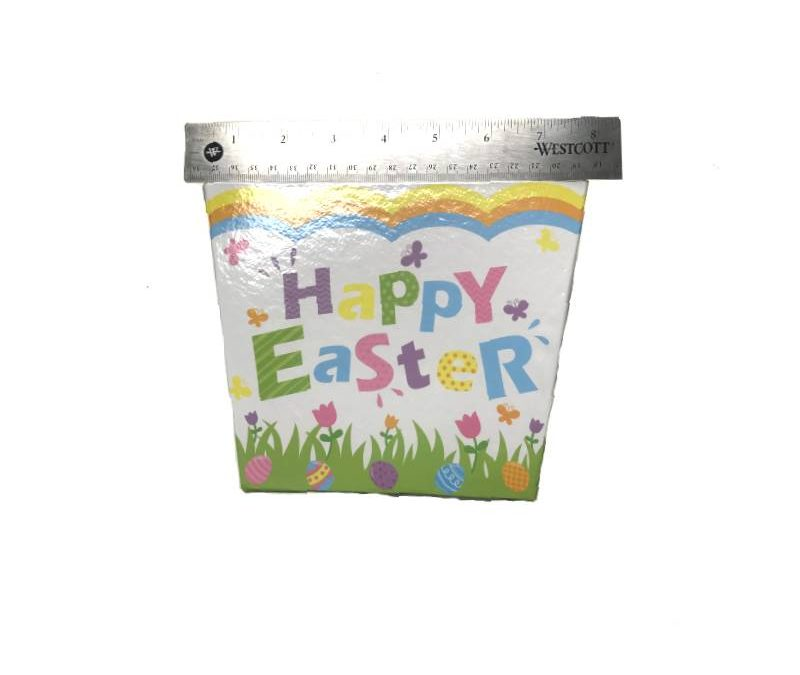 Square Cardboard Easter Basket w Ribbon Handle – White/Multi