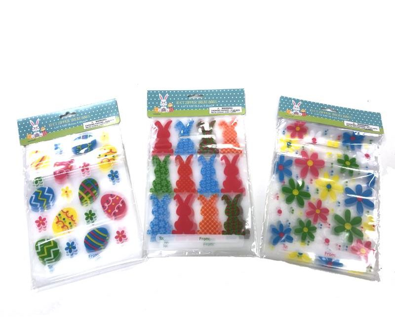 Spring-Easter Plastic Zipper Treat Bags