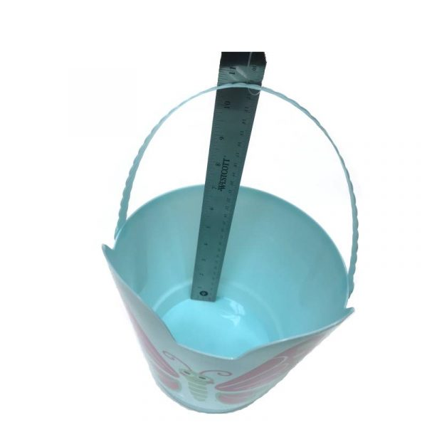 "Light Blue Butterfly 8"" Spring Easter Plastic Pail w Handle"