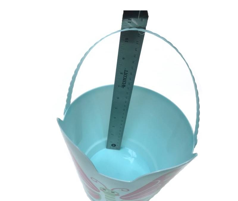 8″ Spring Easter Plastic Pail w Handle – Light Blue