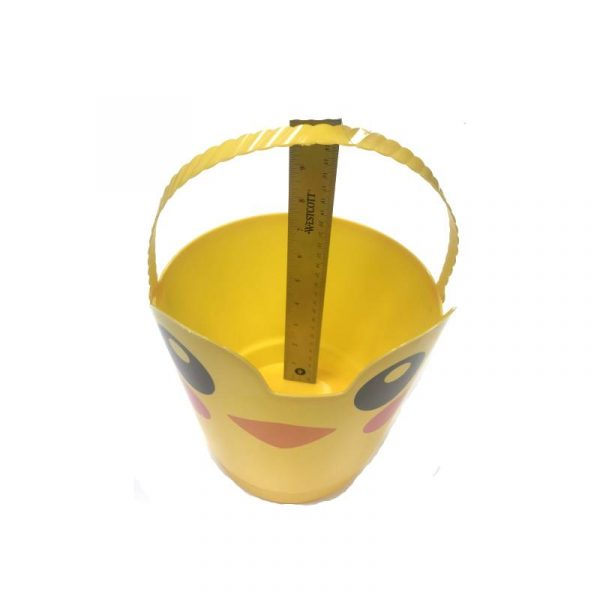 "Yellow Chick 8"" Spring Easter Plastic Pail w Handle"