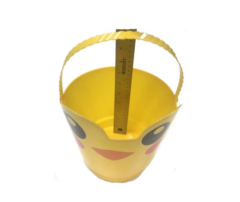 8″ Spring Easter Plastic Pail w Handle – Yellow