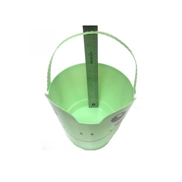 "Light Green Frog 8"" Spring Easter Plastic Pail w Handle"