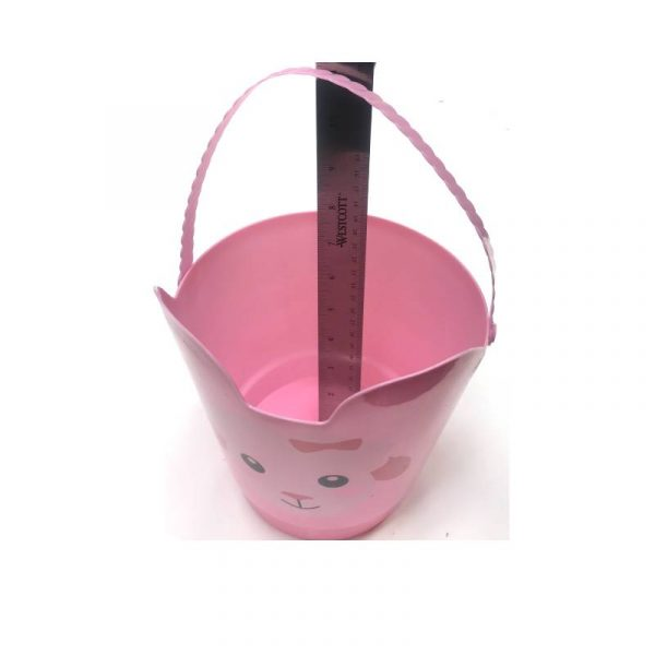"""Pink Lamb 8"""" Spring Easter Plastic Pail w Handle"""