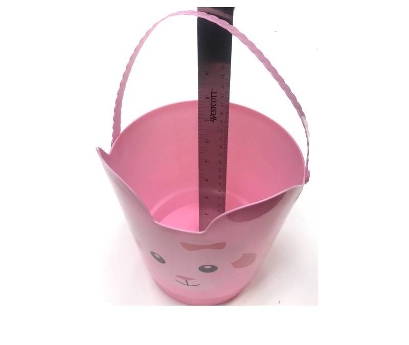 8″ Spring Easter Plastic Pail w Handle – Pink