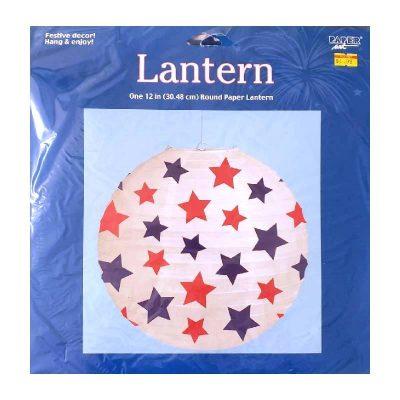 Red and Blue Stars Round Paper Lantern