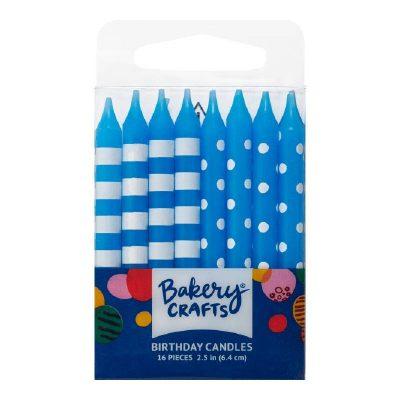 Blue Stripes and Dots Candles